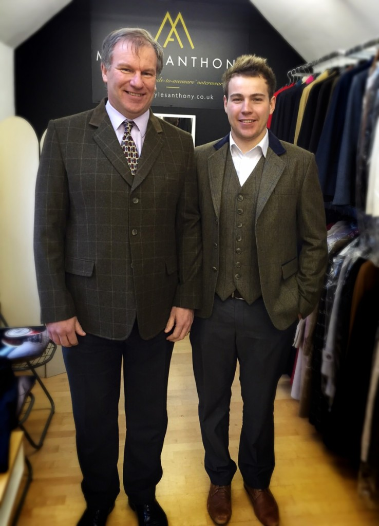 clients in brown check tweed sports jacket