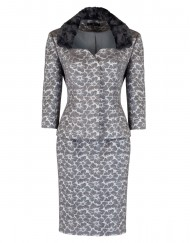 ladies silver jacquard suit