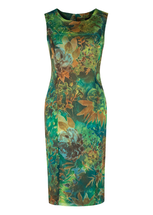 silk batik pattern shift dress