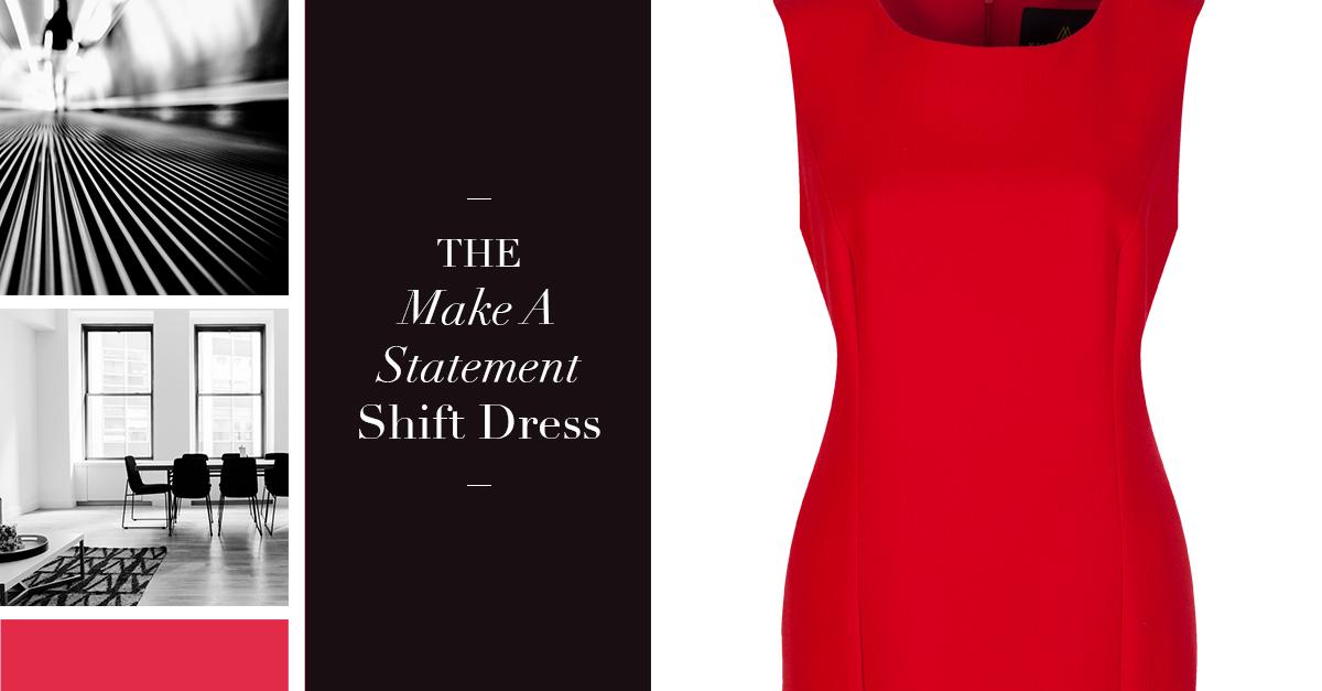 Gorgeous made-to-measure red crepe shift dress